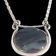 Vintage Artisan Landscape Picture Agate Sterling Silver Pendant Necklace