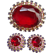Vintage Ruby Red Pink Lavender Rhinestone Brooch Earrings Set