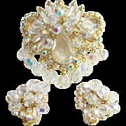 Juliana Clear Dangle Bead Rhinestone Pendant Brooch Clip Earrings Set Book Piece