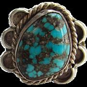 Southwestern Tribal Sterling Silver Turquoise Ring Size 5 Fabulous Matrix