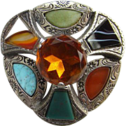 Vintage Miracle Scottish Scotland Celtic Amber Rhinestone Glass Brooch Pin Signed