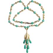 Vintage Tassel Necklace Green Peking Glass Drops Textured Gold Tone Swirl Links on Chain