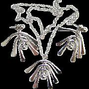 1972 Avon Windchimes Convertible Silver Tone Pierced Earrings Necklace Set Signed