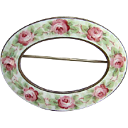 Victorian White Oval Enamel Collar Scarf Brooch Pin Handpainted Red Roses C Clasp