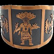 Bell Trading Post Southwestern Tribal Figural Solid Copper Cuff Bracelet