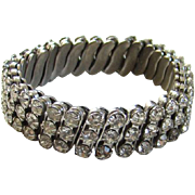 Old Vintage Clear Ice Rhinestone Expansion Bracelet Silvertone Setting Set in USA Made in Japa