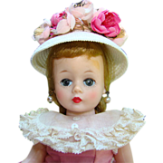 C1958 Cissette Doll in Pink Polished Cotton Dress White Cloche Hat Box Madame Alexander