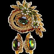 Juliana Green Brown Heliotrope Rhinestone Brooch Earrings Set DeLizza Elster