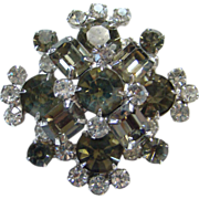Vintage Black Diamond and Clear Rhinestone Brooch Pin Brilliant