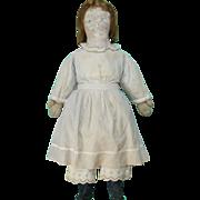 19thC Painted Face Rag Cloth Doll Human Hair Wig Mitt Hands Original Clothing 26 Inch