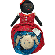 Old Black White Topsy Turvy Doll Red Blue Calico Clothing Large Size 21 Inch Museum ...