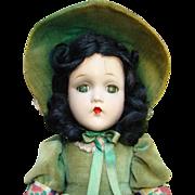 C1940 Scarlett O'Hara Composition Doll Green Velvet Dress Hat Madame Alexander 15 Inch