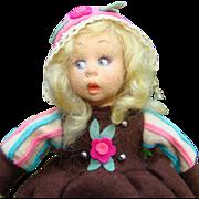 C1930s Lenci Mascotte Dutch Regional Felt Cloth Doll Holding Tulip 9 Inch