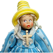 C1930s Lenci Mascotte Regional Felt Cloth Doll Bruxelles 9 Inch