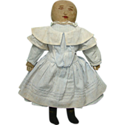 C1900 White Cloth Rag Doll Two Ink Faces Provenance Individual Fingers Handstitched 20 Inch
