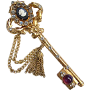 1948 Pegasus Coro Key Brooch With Tassel Detail Possibly Adolph Katz Designer 150429 Signed