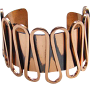 Vintage Renoir Massive Copper Cuff Bracelet Rhythm 1950s Mid Century Modernist Abstract