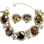 Juliana Copper Lustre Aurora Borealis Rhinestone Bracelet Clip Earrings DeLizza Elster