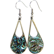 Vintage Alpaca Abalone Pierced Dangle Earrings Mexico Mexican