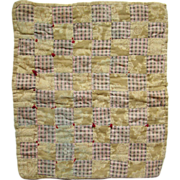 19thC New England Doll Quilt Stitched by Child One Patch