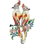 Vintage C1941 Coro Enameled Cockatiel Bird Duette Dress Fur Clips