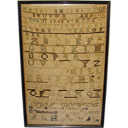 SOLD 1798 Hope Miller Needlework Alphabet Sampler Williamsburgh Mass Age 13 Provenance