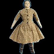 Antique Papier Mache Shoulder Head Doll Cloth Body in Brown Calico Dress 17 Inch