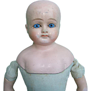 SOLD Unmarked German Composition Shoulder Head Doll Blue Glass Eyes Solid Dome 14.5 Inch