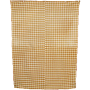 Antique New England 19thC Homespun Brown Cream Wool Windowpane Check Blanket