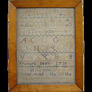 1738 Needlework Sampler Frances Drew Alphabets Verse Linen Silk New England Rare