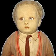 1926-30 Lenci Felt Cloth Male School Boy Doll 13 Inch Series 450 Cabinet Size Original