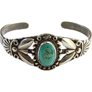 Vintage Fred Harvey Era Southwestern Navajo Style Turquoise Cuff Bracelet Sterling Silver Stam