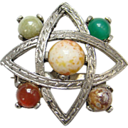 Vintage Celtic Scotland Scottish Brooch Pin Faux Agate Stones