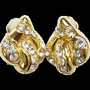 Vintage Oscar de la Renta Haute Couture Fashion Earrings Pave Ice Rhinestone Gold Tone Signed