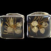 Vintage Sterling Silver Dried Flower Paperweight Earrings Pierced Post Marked 925
