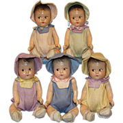 C1930s Old Composition Dionne Quintuplets Doll Set of 5 Original Outfits in Box Unmarked 7 ...