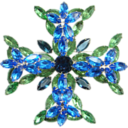 Stunning Vintage Sapphire Blue Emerald Green Rhinestone Brooch Maltese Cross Design