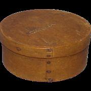 Signed Hingham MA Pantry Box A Sprague C Talbot Natural Patina C1820-60
