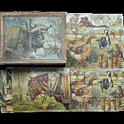 C1870 Antique German Chromolithograph Child Animal Puzzle Blocks Toy Original Box