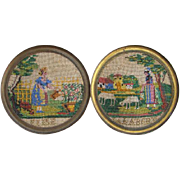 Rare 19thC Victorian Beadwork Needlework Art Pair Signed Elise Calabert