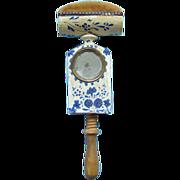 Antique 1800s Pennsylvania Wood Folk Art Sewing Clamp Bird Pin Cushion Blue White Paint Decora