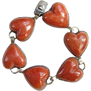 Old Taxco Mexico Sterling Silver Heart Shape Link Bracelet Signed Mexican Jewelry