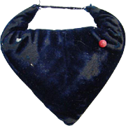 Old Victorian Sewing Needle Pin Cushion Emery Sharpener Blue Velvet Heart Shape Needlework Too