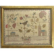 1811 School Girl Needlework Sampler Mary Newton Born 1800 Teacher School House Bird Plant