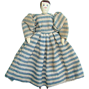 Old Peg Wooden Doll Jointed Hand Carved Hand Sewn Blue Stripe Dress Hand Painted 9 ...