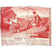 Antique 19thC Red Copperplate Child Cotton Handkerchief Playing at Plough Children Farm Work