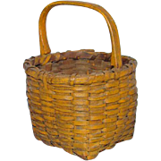 SOLD Antique 19th Century New England Miniature Handled Berry Basket in Mustard Milk Paint