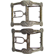 Georgian Period Matching Pair Sterling Shoe Buckles Silver Over Brass Intricate Design 18th Ce