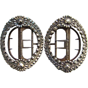 18th Century Matching Pair Sterling Silver Shoe Buckles Hand Wrought Floral Design Georgian Er