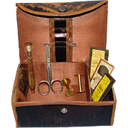 Shaker Sewing Box Kit Bronzed Leather with Sewing Tools Brown Silk Interior Pin Cushion ...